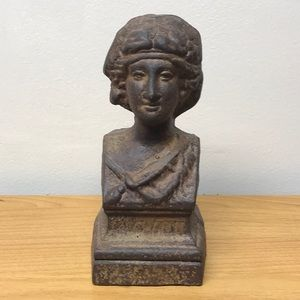 Metal bust cast Iron Lady statue door stop decor